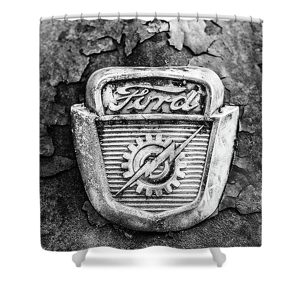Ford Emblem On A Rusted Hood Verticle Shower Curtain