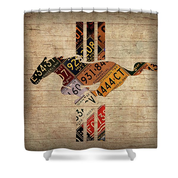 Ford Mustang Emblem Recycled Vintage Michigan License Plate Art Shower Curtain