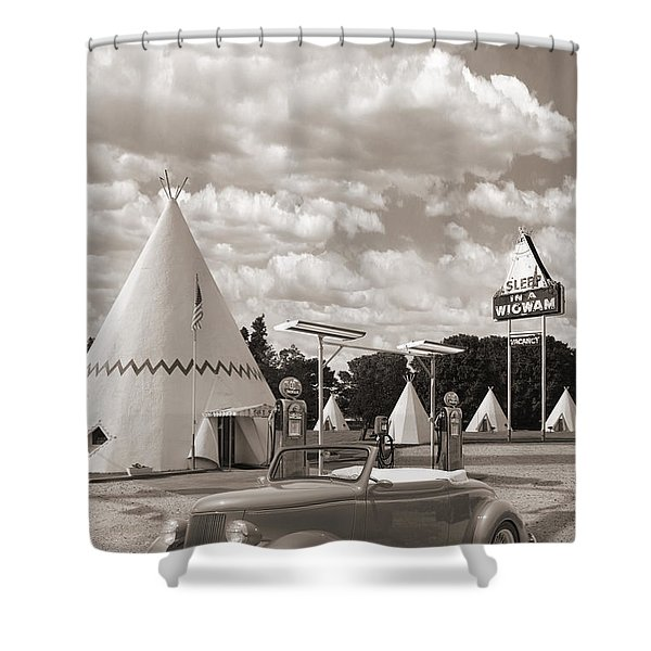 Ford Roadster At An Indian Gas Station Sepia Shower Curtain