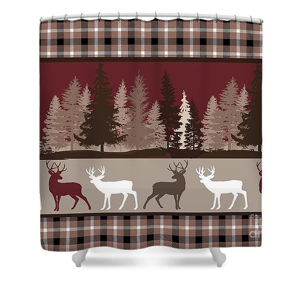 Forest Deer Lodge Plaid Shower Curtain