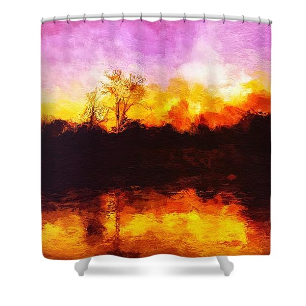 Shower Curtain featuring the painting Forest Fire by Mark Taylor