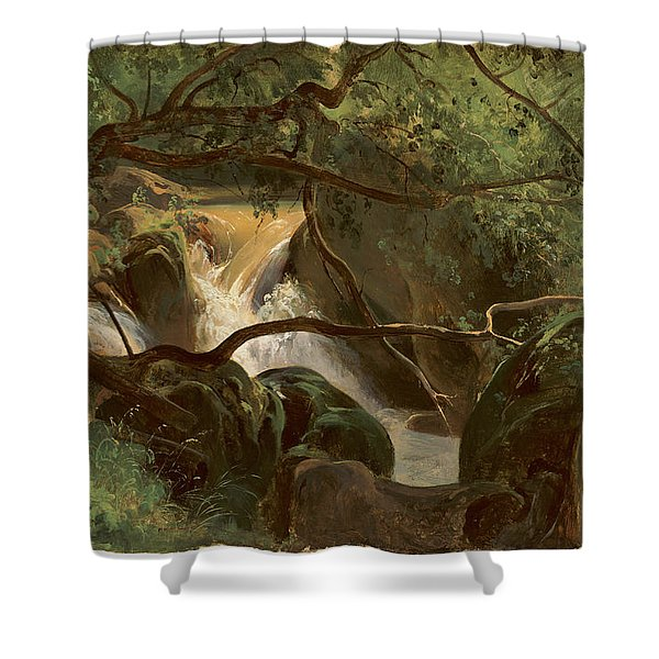 Forest Interior With A Waterfall Papigno Shower Curtain