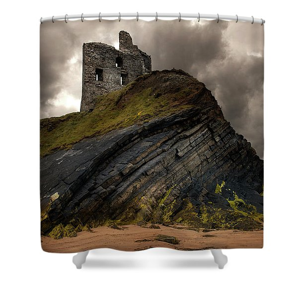 Shower Curtain featuring the photograph Forgotten Castle In Ballybunion by Jaroslaw Blaminsky