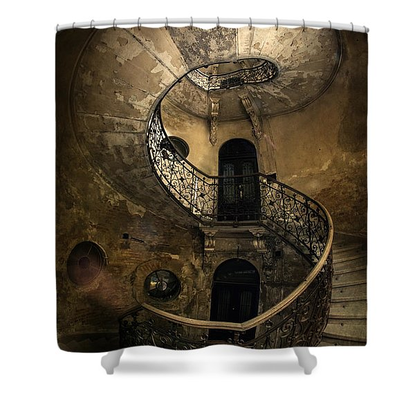 Shower Curtain featuring the photograph Forgotten Staircase by Jaroslaw Blaminsky