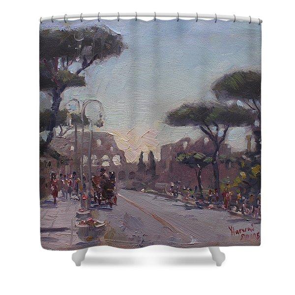Fori Romani - Street To Colosseo Shower Curtain