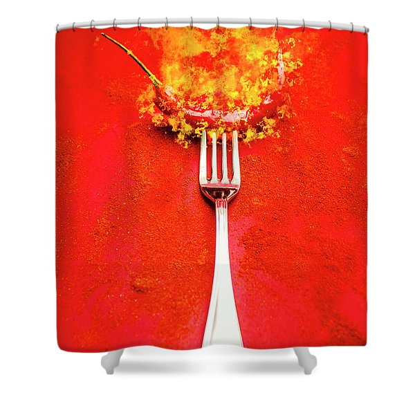 Forking Hot Food Shower Curtain