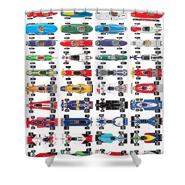 Formula One History Top Shower Curtain