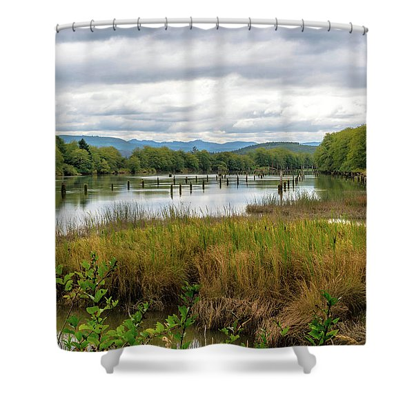 Shower Curtain featuring the photograph fort Clatsop on the Columbia River by Michael Hope