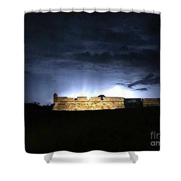 Lightening At Castillo De San Marco Shower Curtain