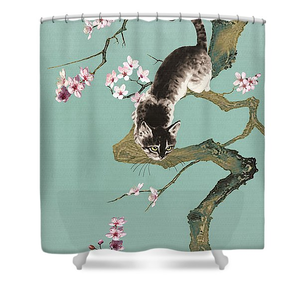 Fortune Cat In Cherry Tree Shower Curtain