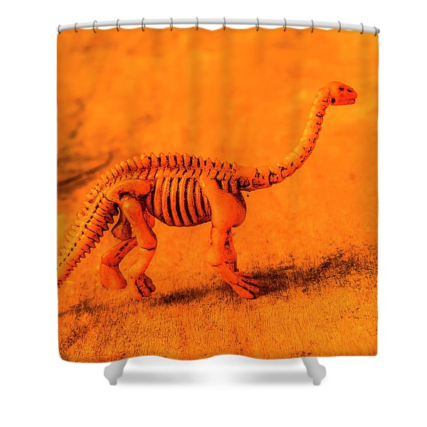 Fossilised Exhibit In Toy Dinosaurs Shower Curtain