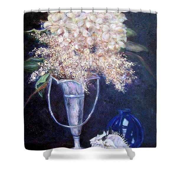 Shower Curtain featuring the painting Found Treasures by Jan Byington