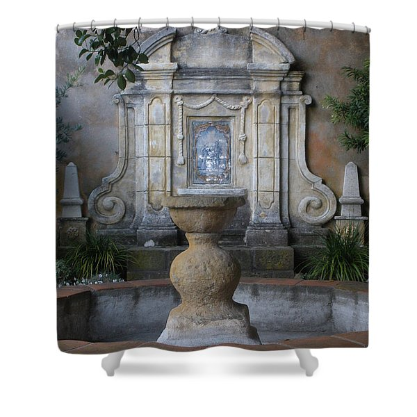 Fountain At Mission Carmel Shower Curtain