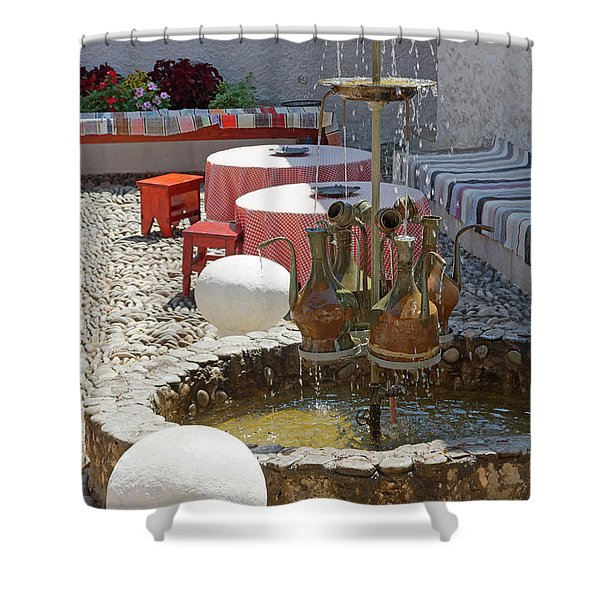 Fountain In Courtyard Shower Curtain
