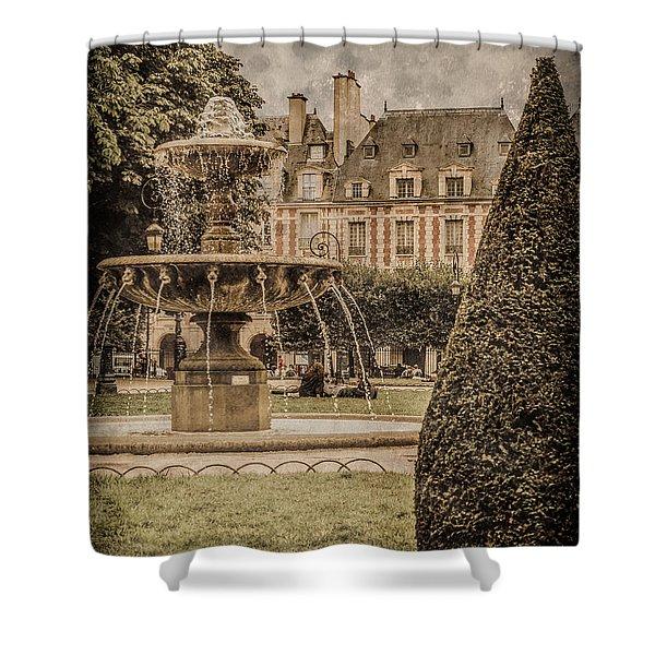 Paris, France - Fountain, Place Des Vosges Shower Curtain