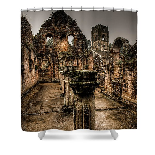 Fountains Abbey In Pouring Rain Shower Curtain