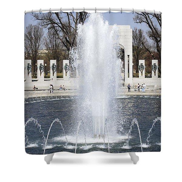 Fountains At The World War II Memorial In Washington Dc Shower Curtain