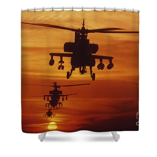 Four Ah-64 Apache Anti-armor Shower Curtain