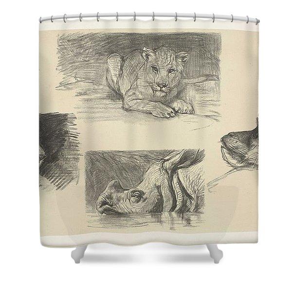 Four Animals, August Allebe, 1848 - 1927 Shower Curtain