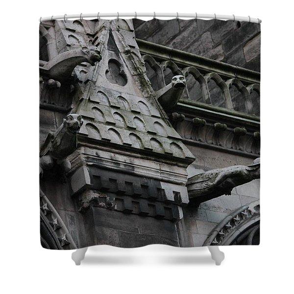 Four Gargoyles On Notre Dame North Shower Curtain