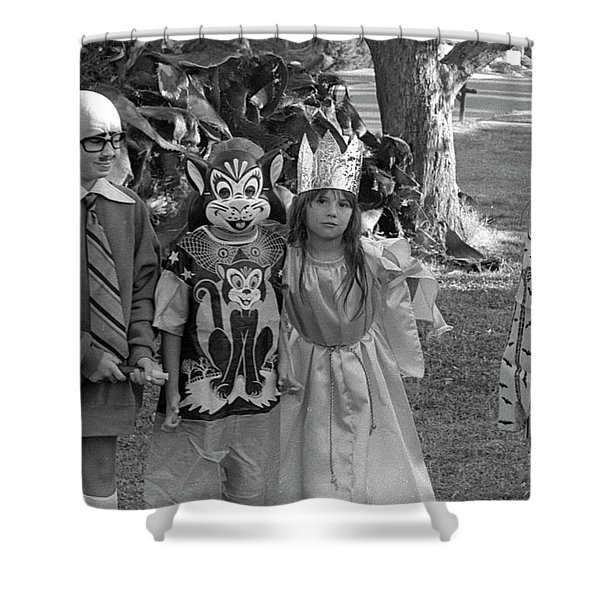 Four Girls In Halloween Costumes, 1971, Part Two Shower Curtain