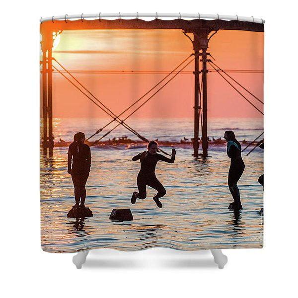Four Girls Jumping Into The Sea At Sunset Shower Curtain