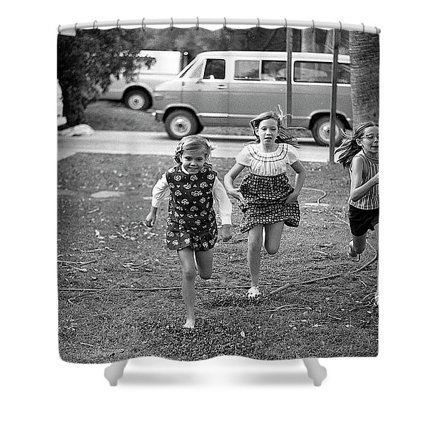 Four Girls Racing, 1972 Shower Curtain