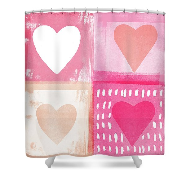 Four Hearts- Art By Linda Woods Shower Curtain