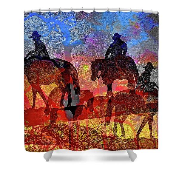 Shower Curtain featuring the digital art Four Horsemen by Visual Artist Frank Bonilla