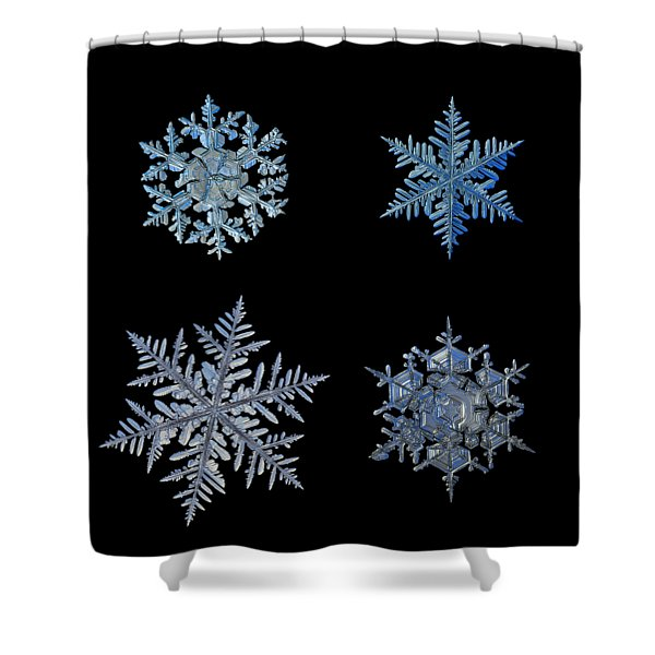 Four Snowflakes On Black Background Shower Curtain