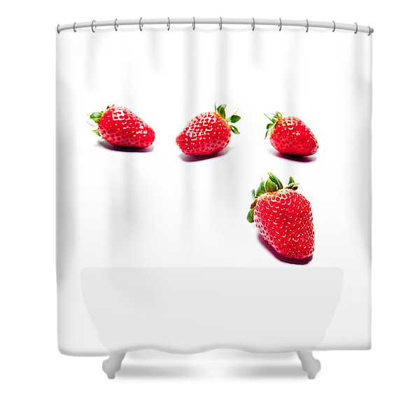 Four Strawberries Shower Curtain
