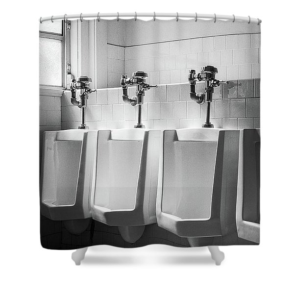 Four Urinals In A Row Bw Shower Curtain