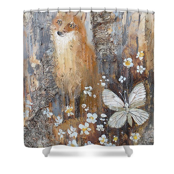 Fox And Butterfly Shower Curtain