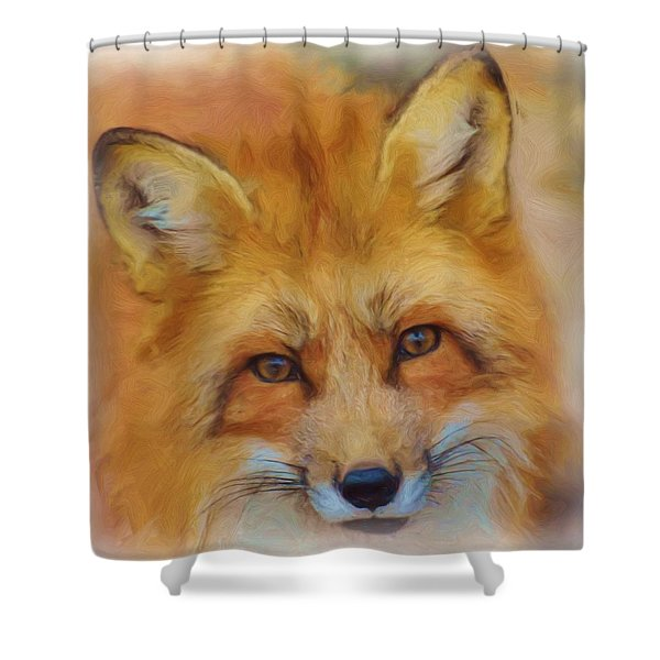 Fox Face Taken From Watercolour Painting Shower Curtain