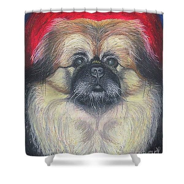 Fozy Bear Pekingese Shower Curtain