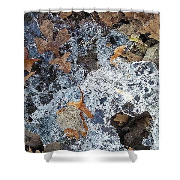 Fractured Ice Among Fall Leaves Shower Curtain