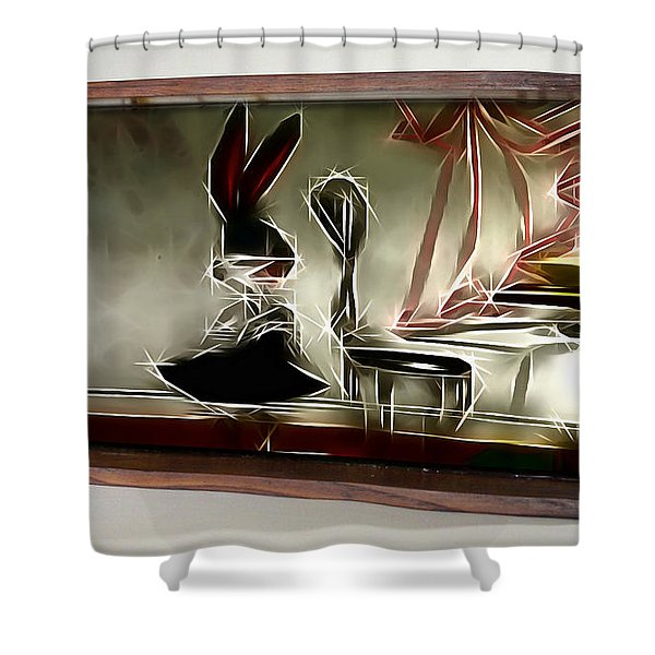 Framed Bunny Abstract Shower Curtain