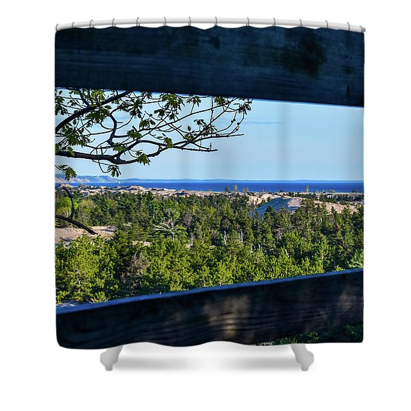 Shower Curtain featuring the photograph Framed View by Lester Plank