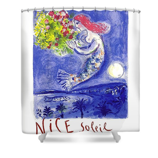 France Nice Soleil Fleurs Vintage 1961 Travel Poster By Marc Chagall Shower Curtain