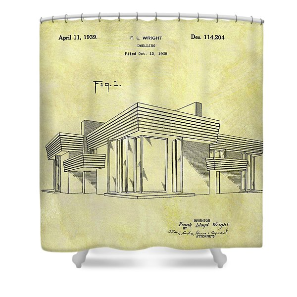 Frank Lloyd Wright House Patent Shower Curtain