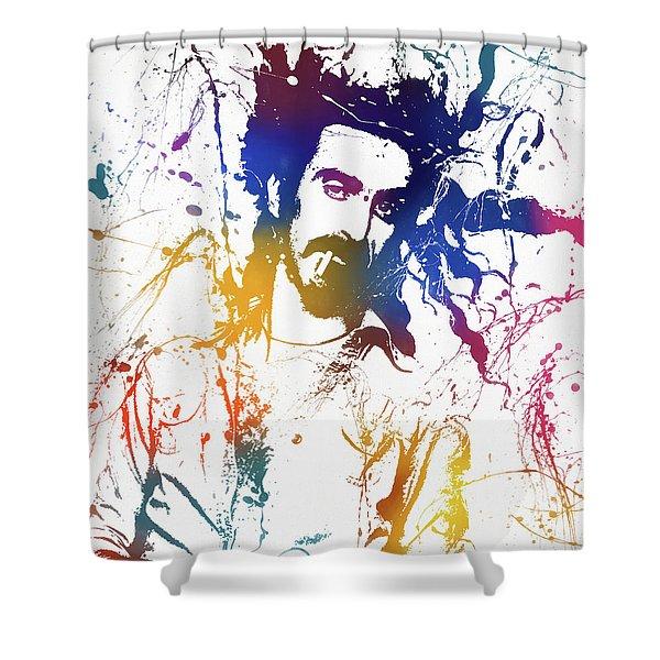 Frank Zappa Splatter Shower Curtain