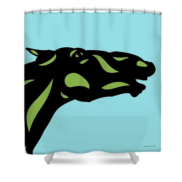 Fred - Pop Art Horse - Black, Greenery, Island Paradise Blue Shower Curtain