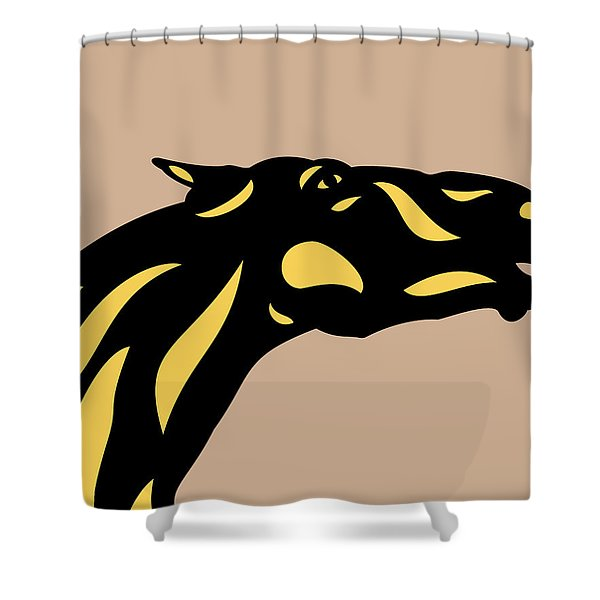 Fred - Pop Art Horse - Black, Primrose Yellow, Hazelnut Shower Curtain