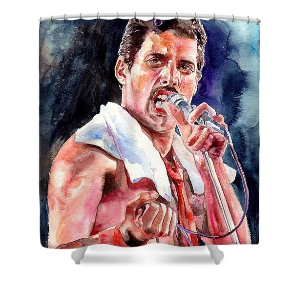 Freddie Mercury Singing Shower Curtain