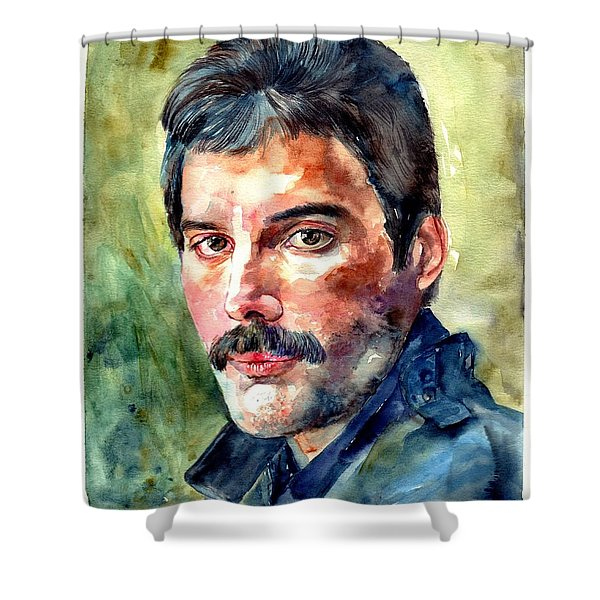 Freddie Mercury Watercolor Shower Curtain