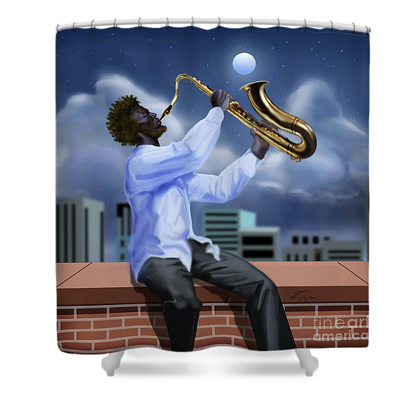 Free Jazz Moon Shower Curtain