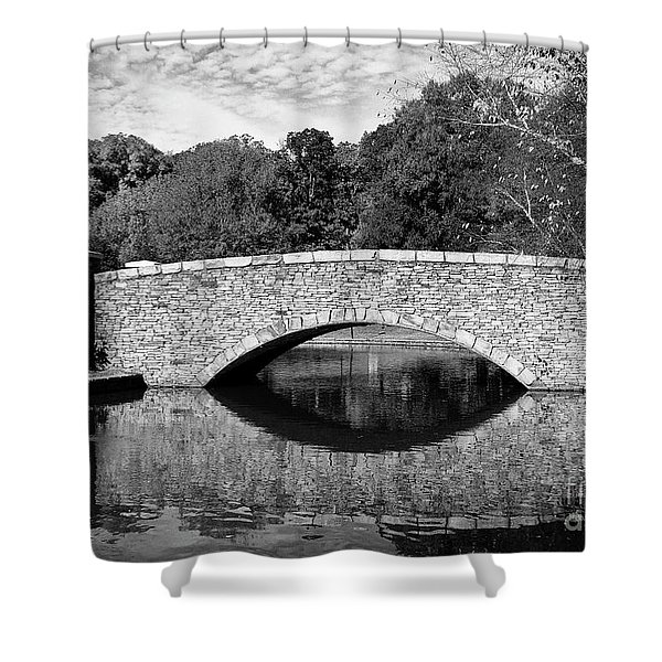 Freedom Park Bridge In Black And White Shower Curtain