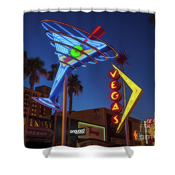Freemont East District Neon Signs From The West At Dawn Wide Shower Curtain