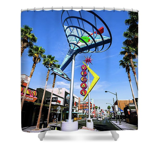 Fremont East District Neon Signs From The West In The Day Shower Curtain