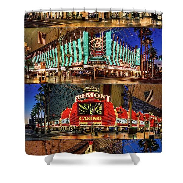 Fremont Street 4 Casinos Shower Curtain
